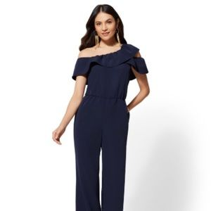 NY&Co Navy Ruffled Off-The-Shoulder Jumpsuit